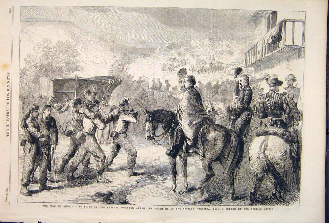 Print War America Federal Lewinsville Virginia 1861 63Maa1 Old Original