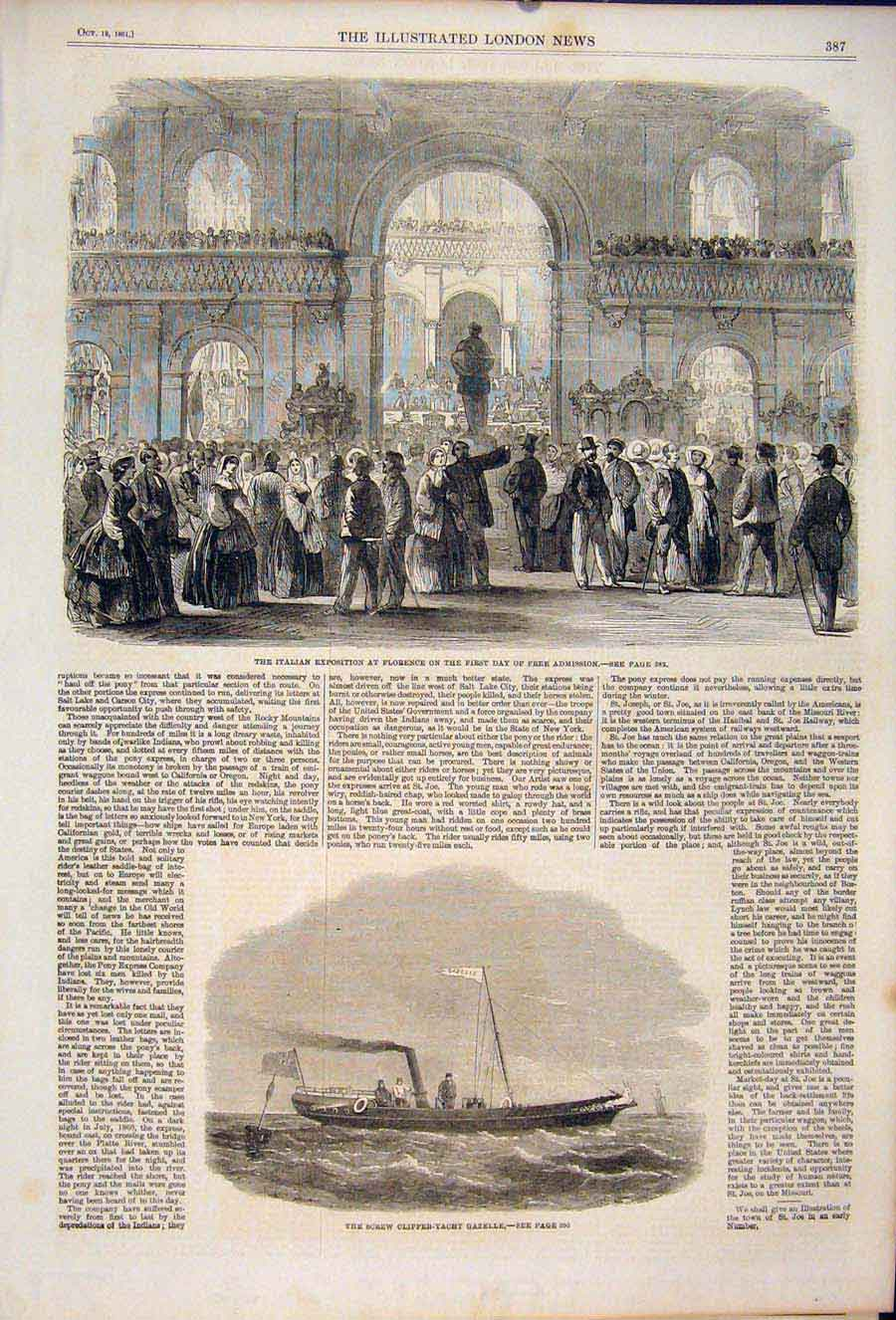 [Print Italian Exposition Florence Screw Clipper Yacht Gazelle 87Maa1 Old Original]