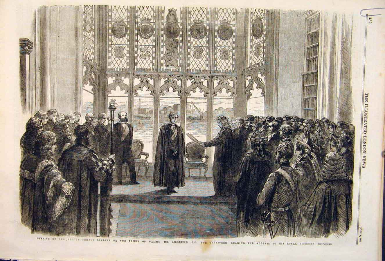 Print Temple Library Anderson Prince Wales London 1861 82Amaa1 Old Original