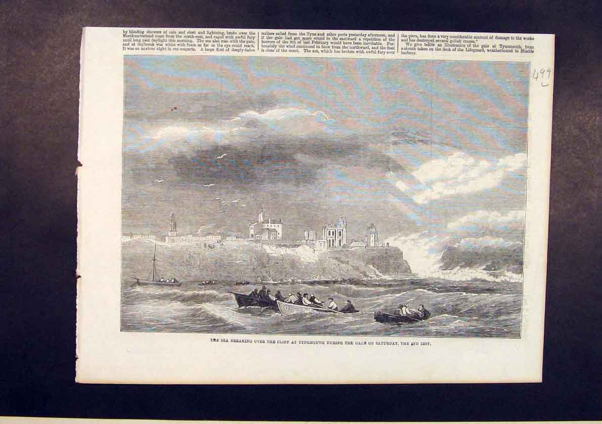 Print Cliff Tynemouth Gales Sea Gale Storm 1861 99Lmaa1 Old Original