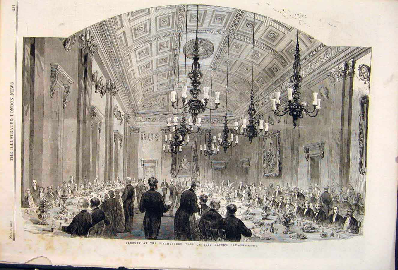 Print Banquet Fishmongery Hall Mayor London Fish 1861 31Maa1 Old Original