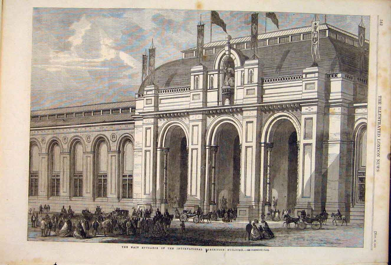 Print International Exhibition Building London 1861 42Maa1 Old Original