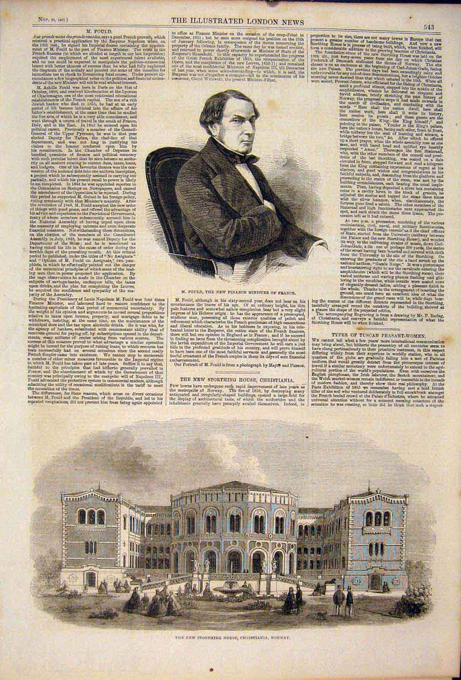 Print Portrait Fould France Storthing House Norway 1861 43Maa1 Old Original