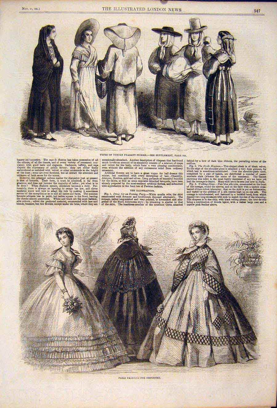 Print Tuscan Peasant Women Tuscany Paris Fashion 1861 47Maa1 Old Original