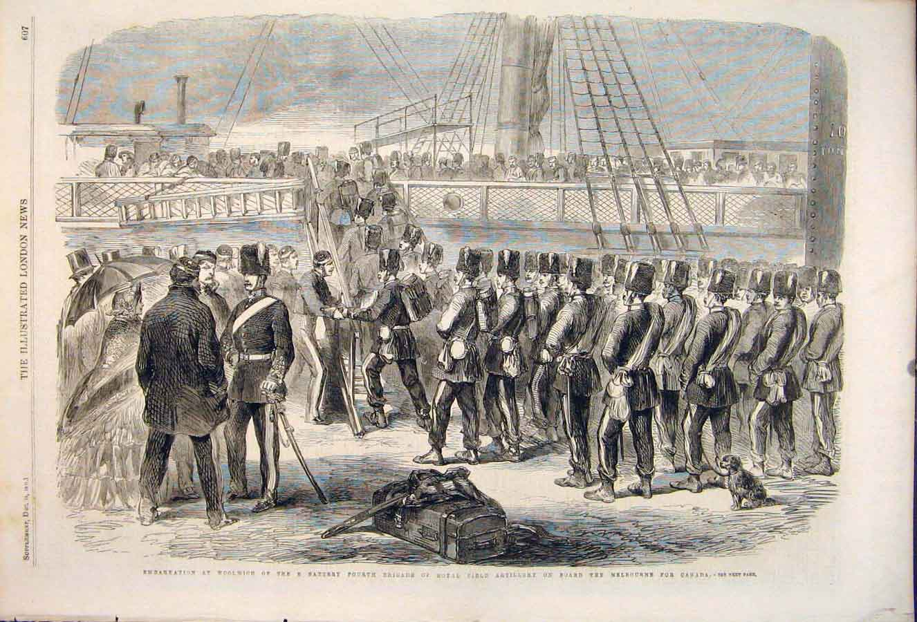 Print Woolwich Field Artillery Melbourne Canada Battery 1861 07Maa1 Old Original