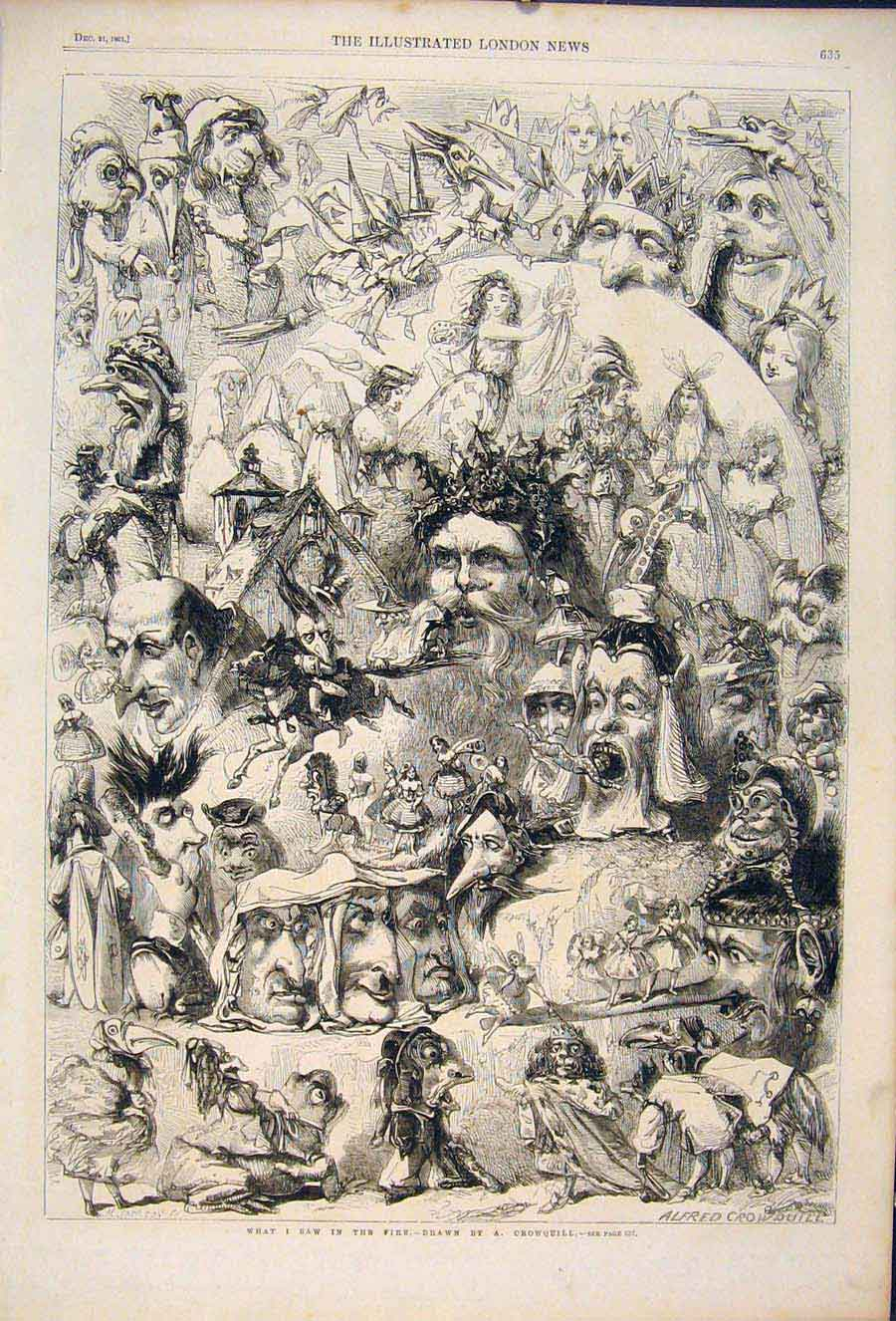 Print Fire Picture Sketch Faces Face Crowquill Sketches 1861 35Maa1 Old Original