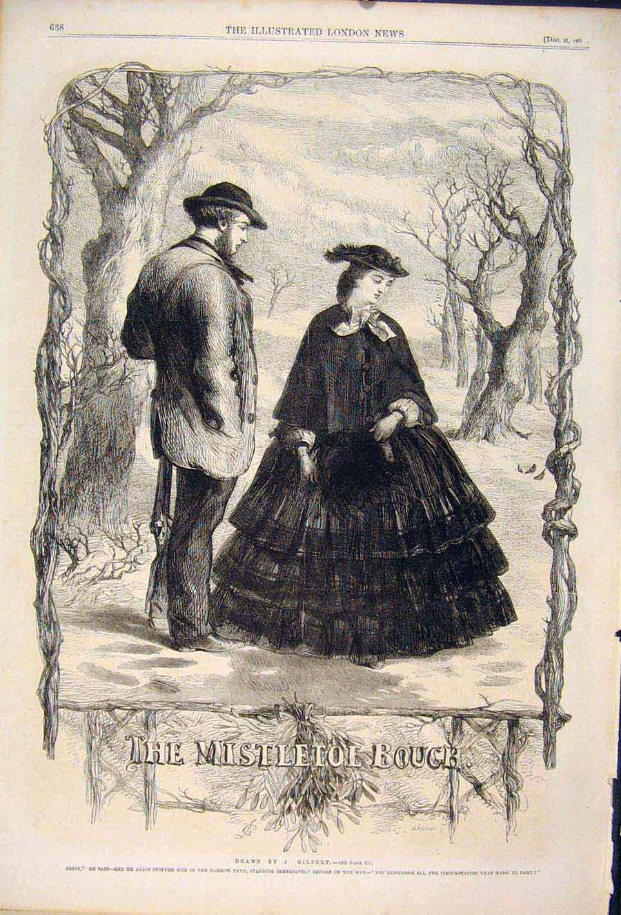 Print Mistletoe Bouch Gilbert Sketch Christmas Lady Man 1861 38Maa1 Old Original