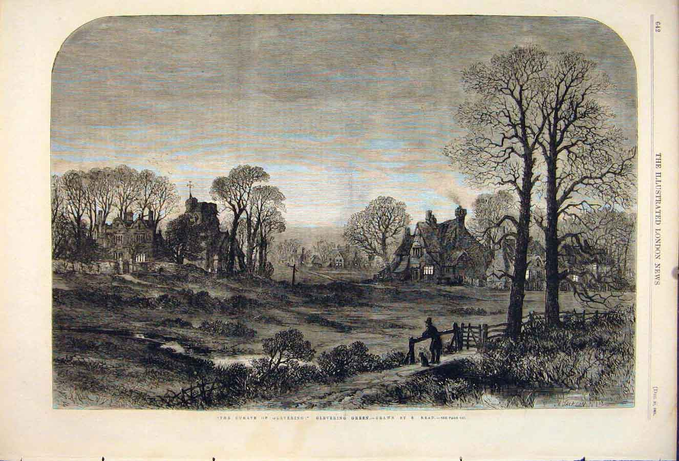 Print Curate Glevering Green Read Valley Church Fine Art 1861 42Maa1 Old Original