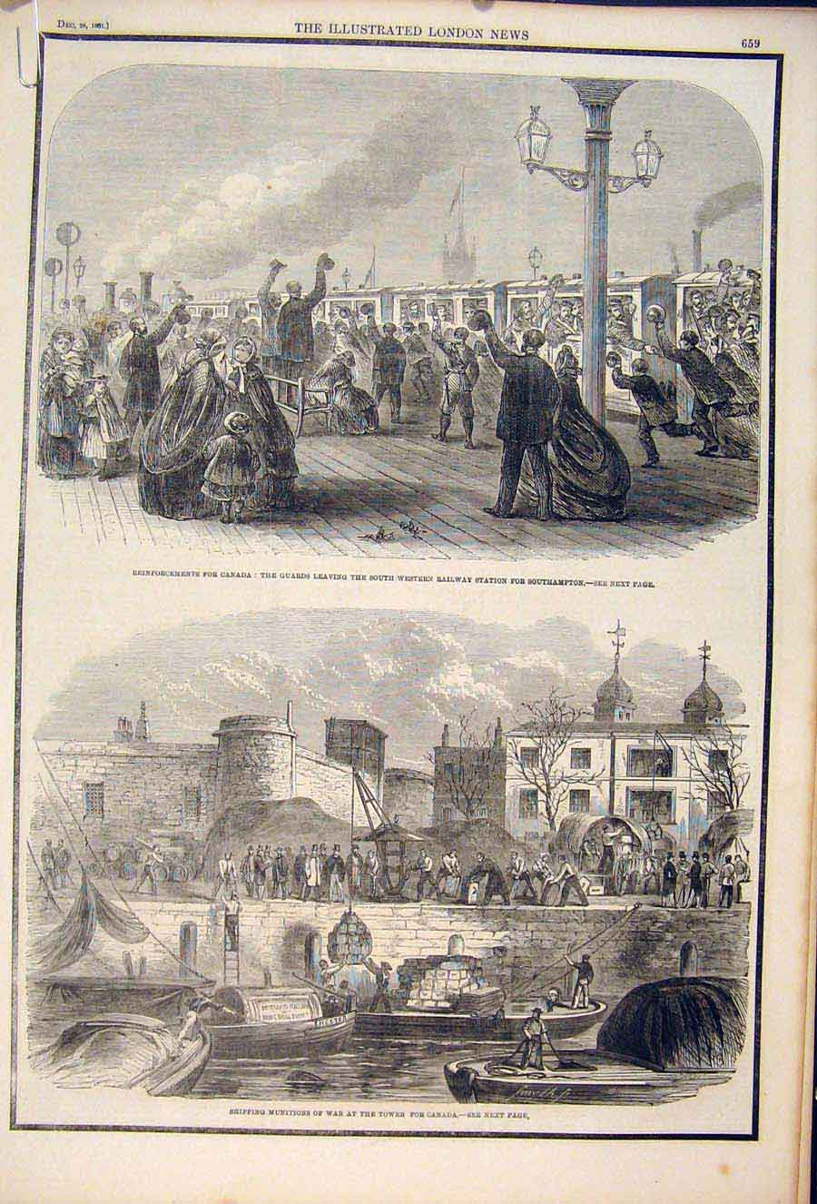 Print Canada Reinforcements Railway Station Southampton 1861 59Amaa1 Old Original