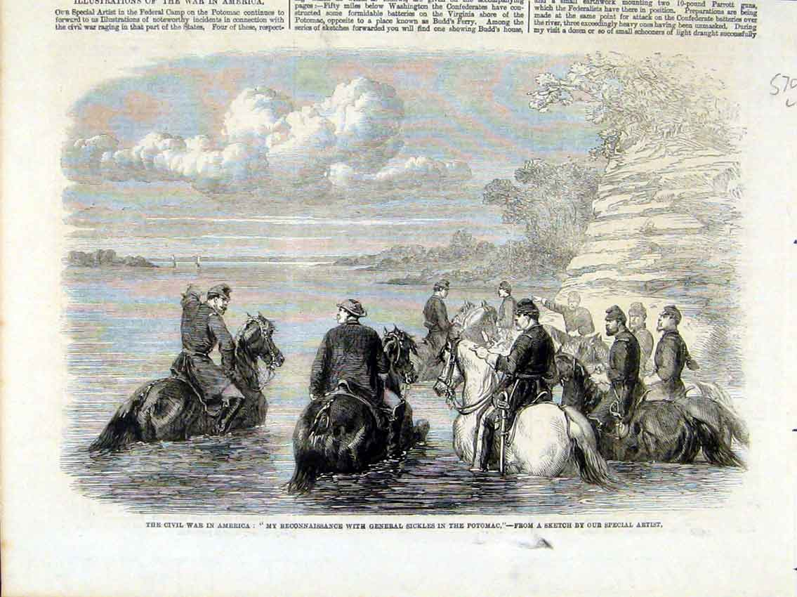 Print Civil War America Potomac General Sickles 1861 50Lmaa1 Old Original