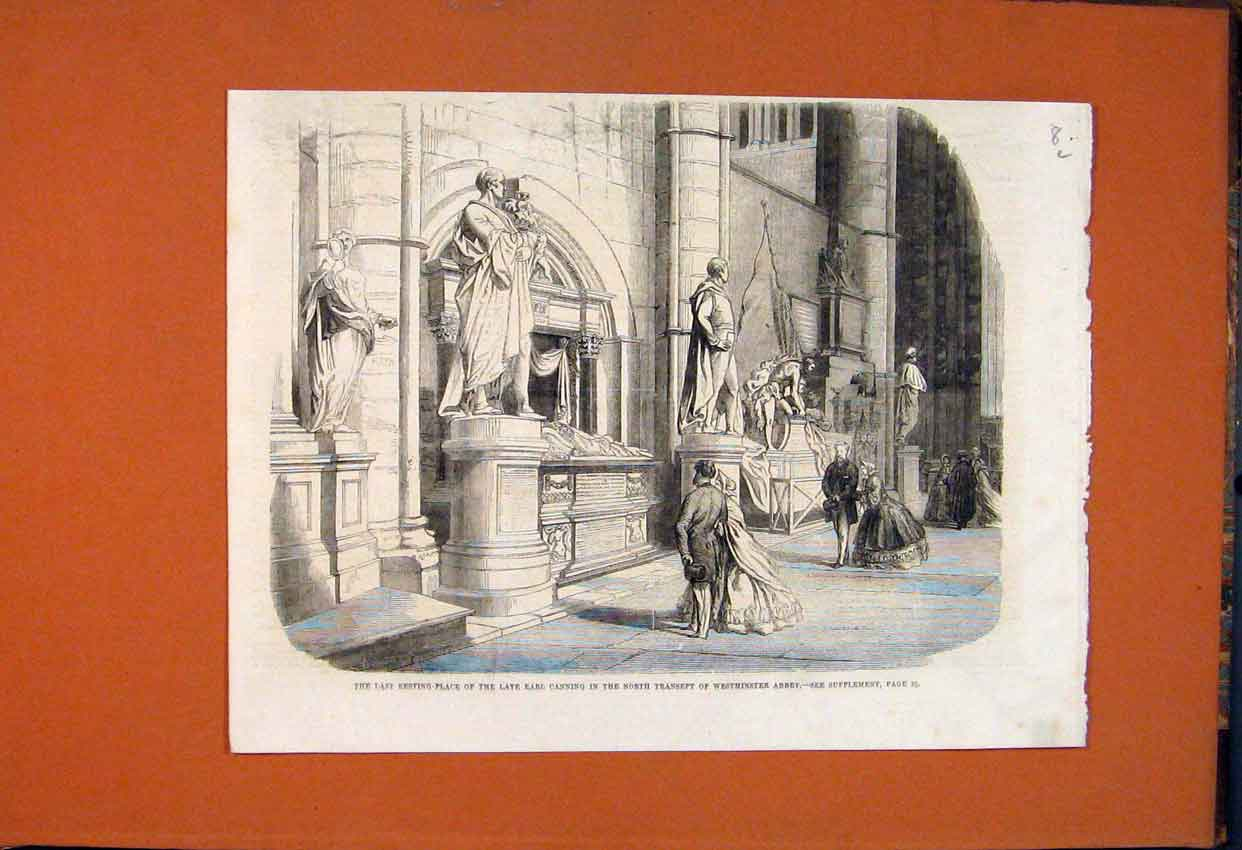 Print Earl Canning Wetminster Abbey Transept 1862 08Lmaa1 Old Original