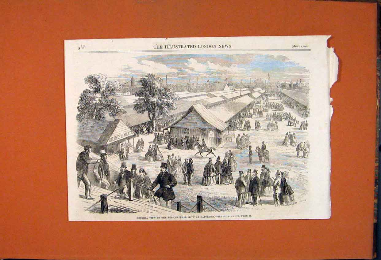 Print General View Agricultural Show Battersea 1862 08Umaa1 Old Original