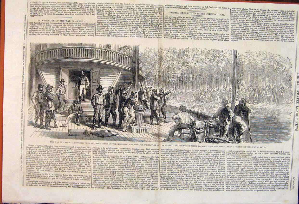 Print Civil War America Mississippi Federal Transports 1862 24Maa1 Old Original