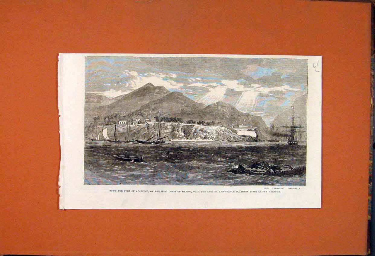 Print Acapulco Town Fort Mexico Squadron 1862 61Lmaa1 Old Original