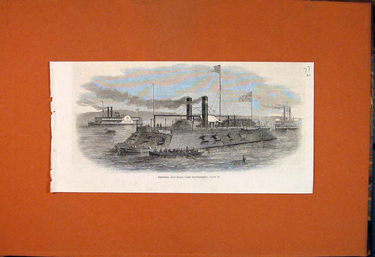 Print Federal Gun-Boat Ship 1862 77Lmaa1 Old Original