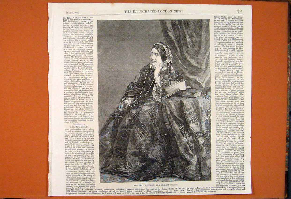 Print Portrait Lucy Anderson Eminent Pianist Music 1862 77Umaa1 Old Original
