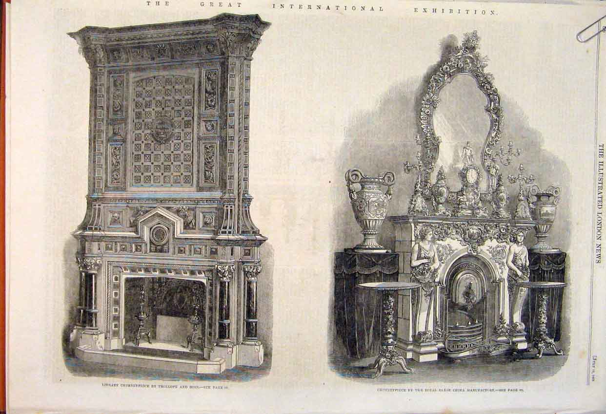 Print Chimneypiece Trollope Saxon China Stove Sheffield 1862 86Amaa1 Old Original