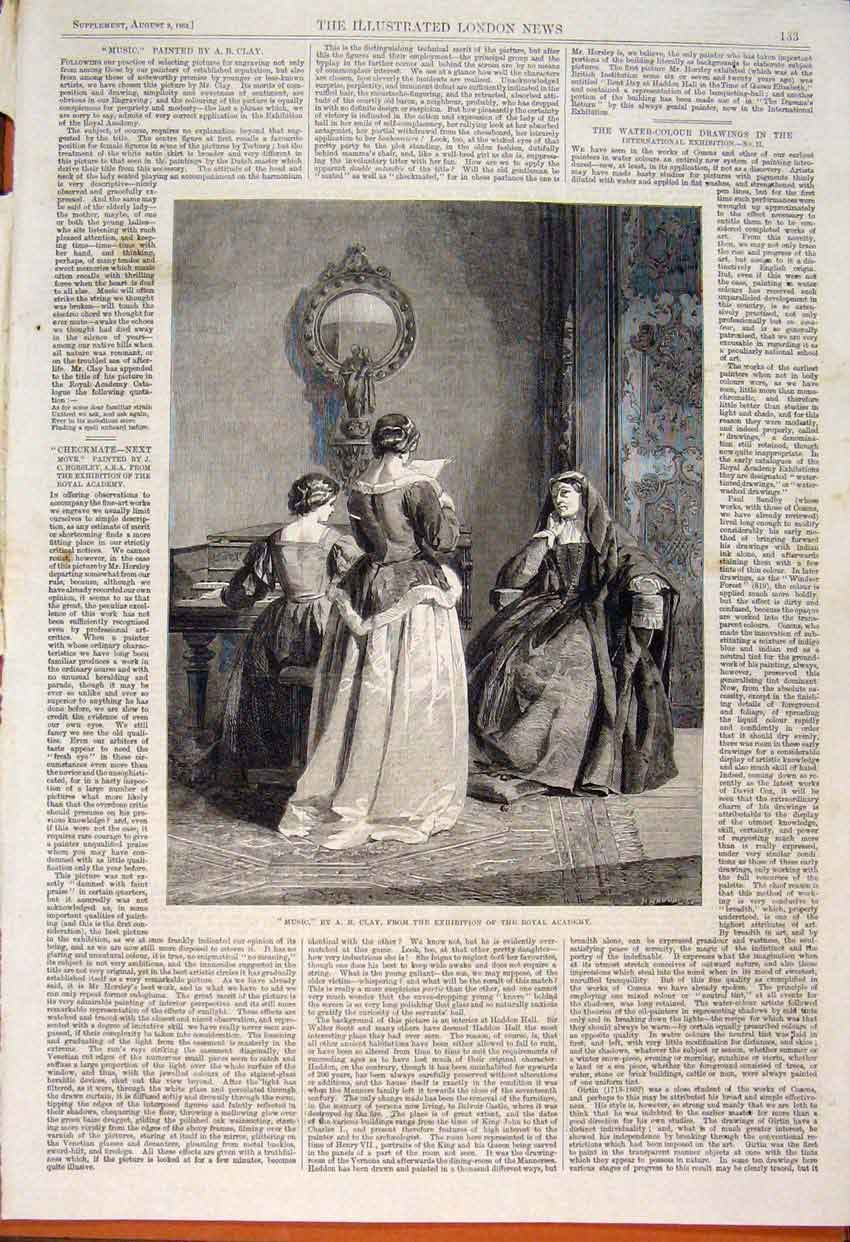 Print Music Clay Royal Academy Fine Art 1862 33Maa1 Old Original