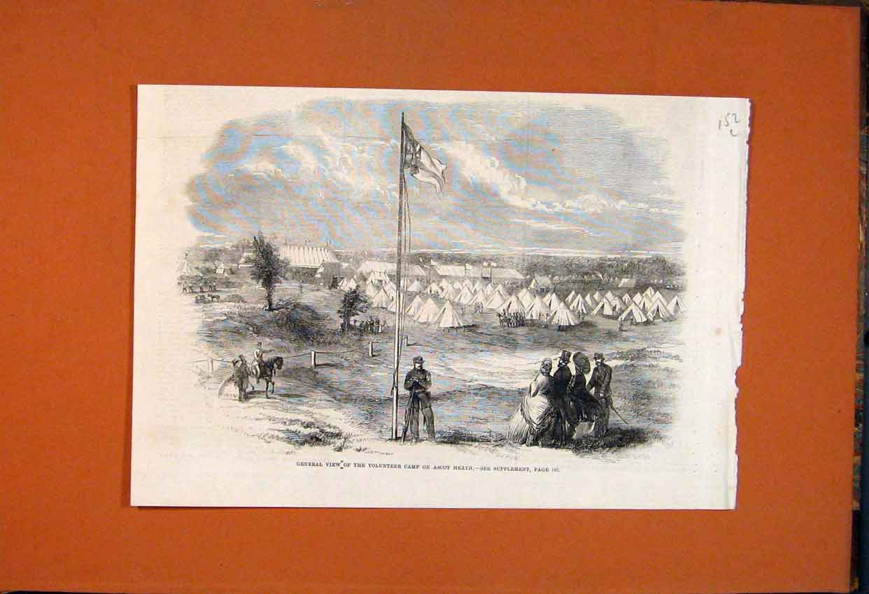 Print View Volunteer Camp Ascot Heath 1862 52Lmaa1 Old Original