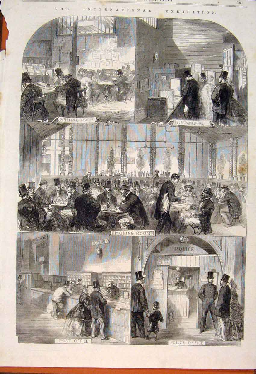 Print International Exhibition Room Office 1862 81Maa1 Old Original