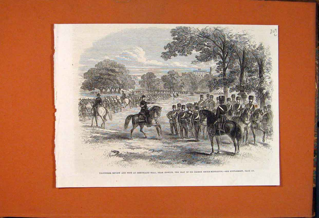 Print Volunteer Review Fete Shrubland Ipswich Middleton 1862 09Lmaa1 Old Original