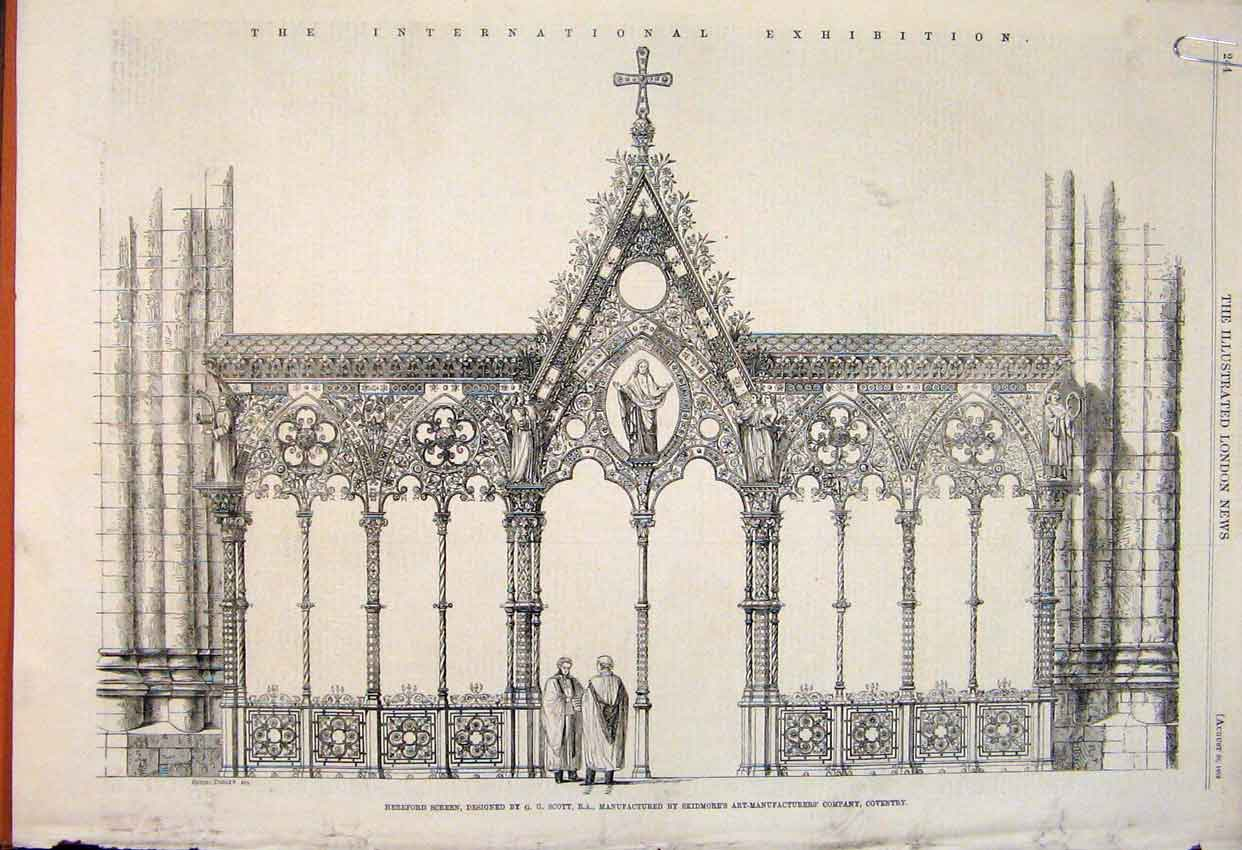 Print Hereford Screen Scott Coventry Doncaster Church Window 44Amaa1 Old Original
