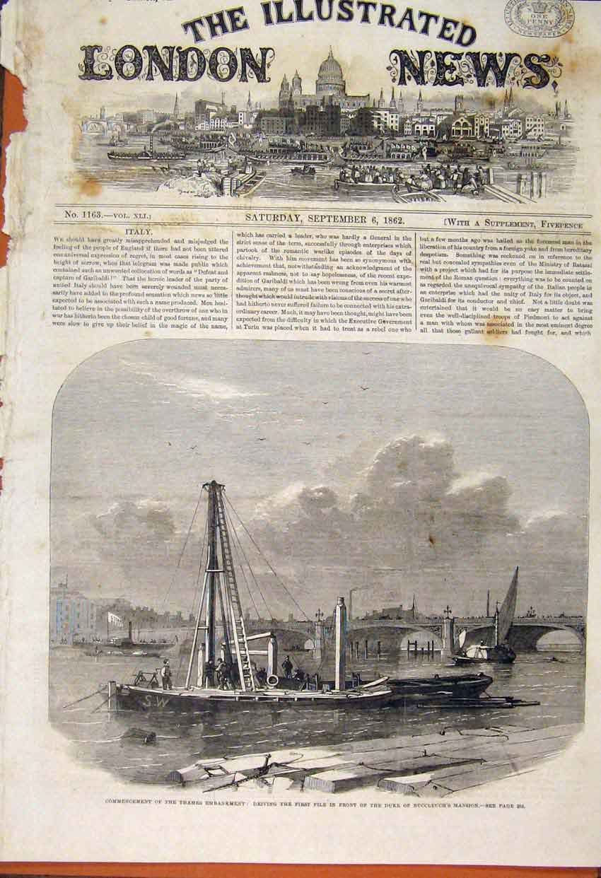 Print Thames Embankment Duke Buccleuch Mansion 1862 54Maa1 Old Original