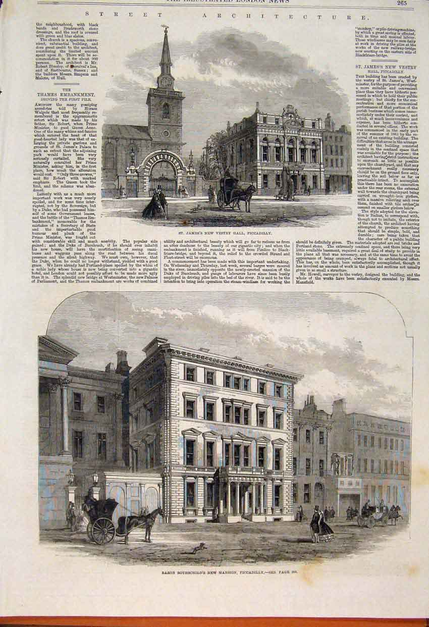 Print Vestry Hall Piccadilly Rothschild Mansion London 1862 65Maa1 Old Original