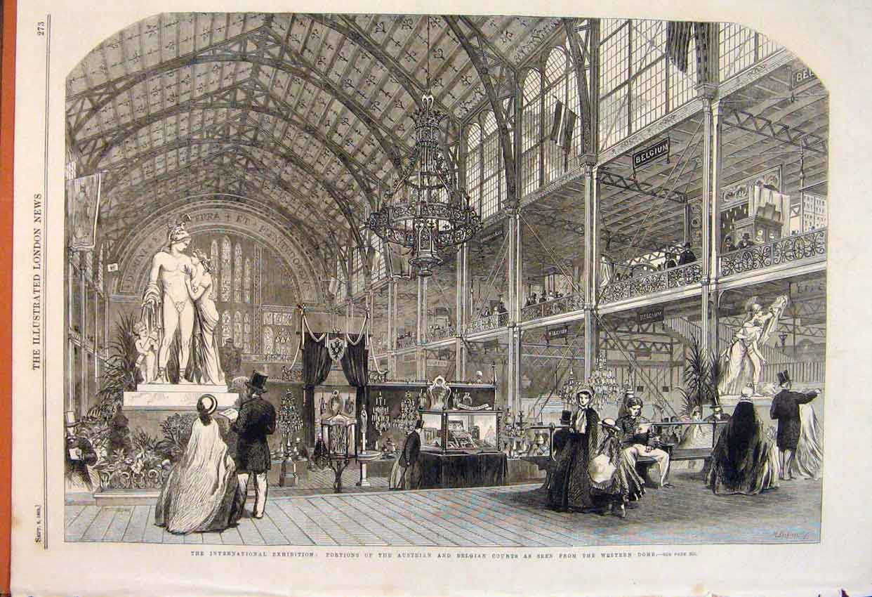 Print Austrian Belgian Court Internatiional Exhibition 1862 73Maa1 Old Original