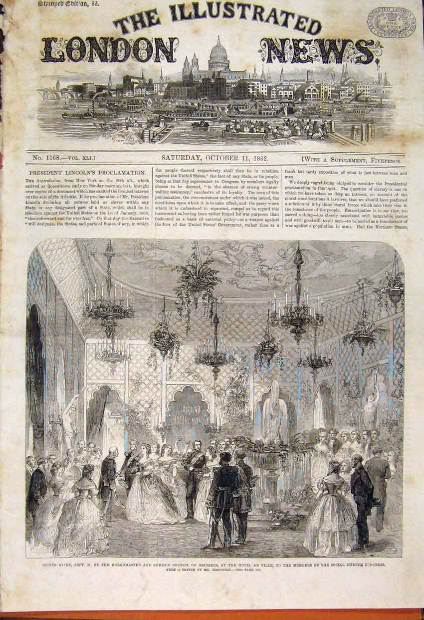 Print Hendrikx Common Council Brussels Science Congress 1862 14Maa1 Old Original