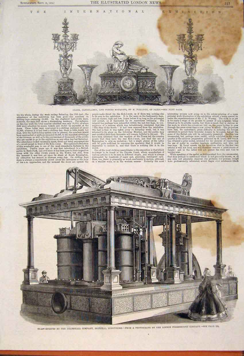 Print Clock Candelabra Poilleux Blast-Engines Lilleshall 1862 17Maa1 Old Original