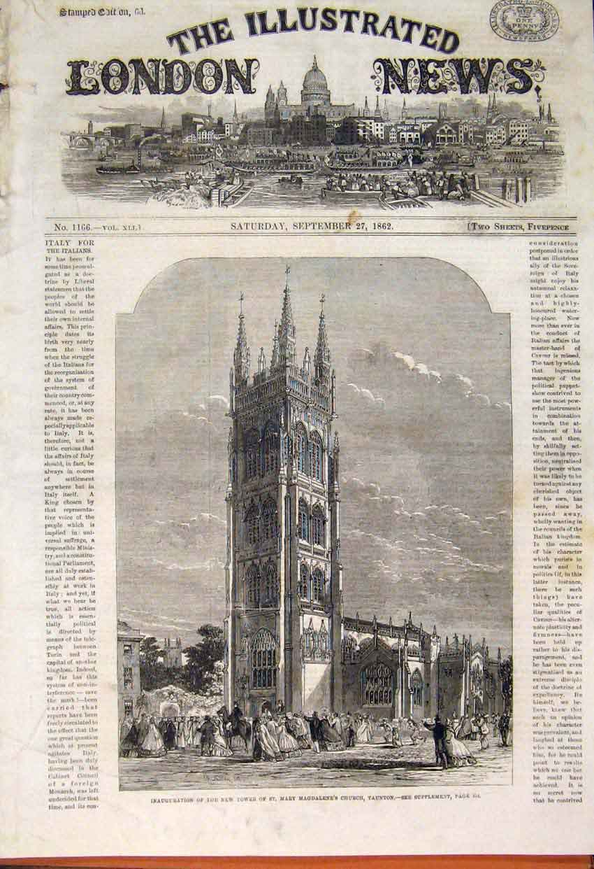 Print Tower St Mary Magdalene Church Taunton 1862 20Maa1 Old Original