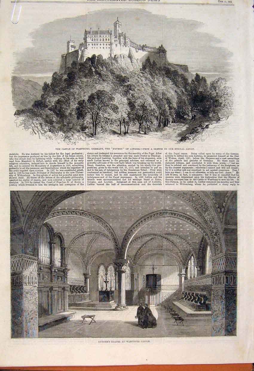 Print Castle Wartburg Germany Luther Chapel Patmos 1862 76Amaa1 Old Original