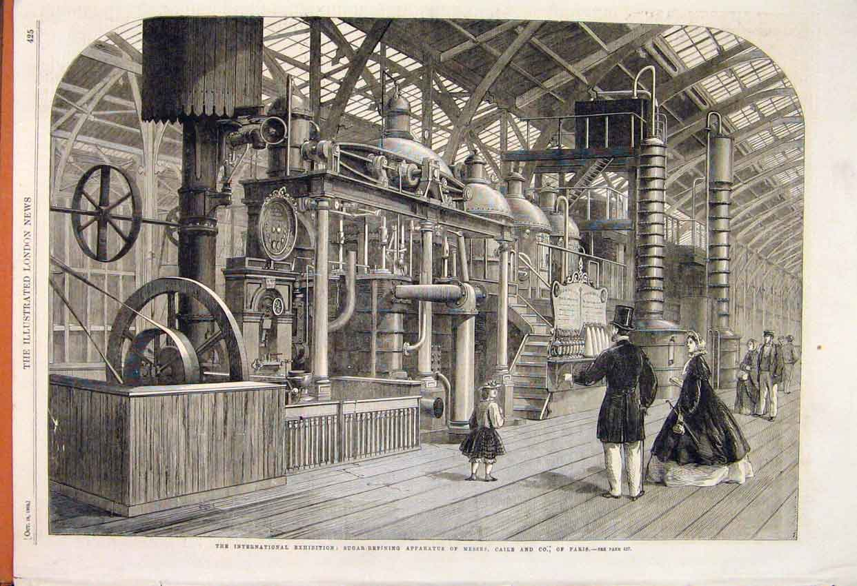 Print Sugar Refining Apparatus Caile Paris Exhibition 1862 25Maa1 Old Original