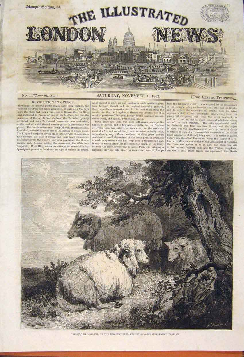 Print Sheep Morland International Exhibition Fine Art 1862 54Maa1 Old Original