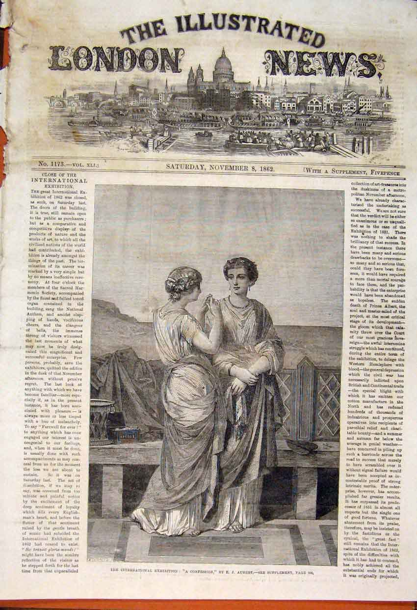 Print Confession Aubert International Exhibition 1862 86Maa1 Old Original