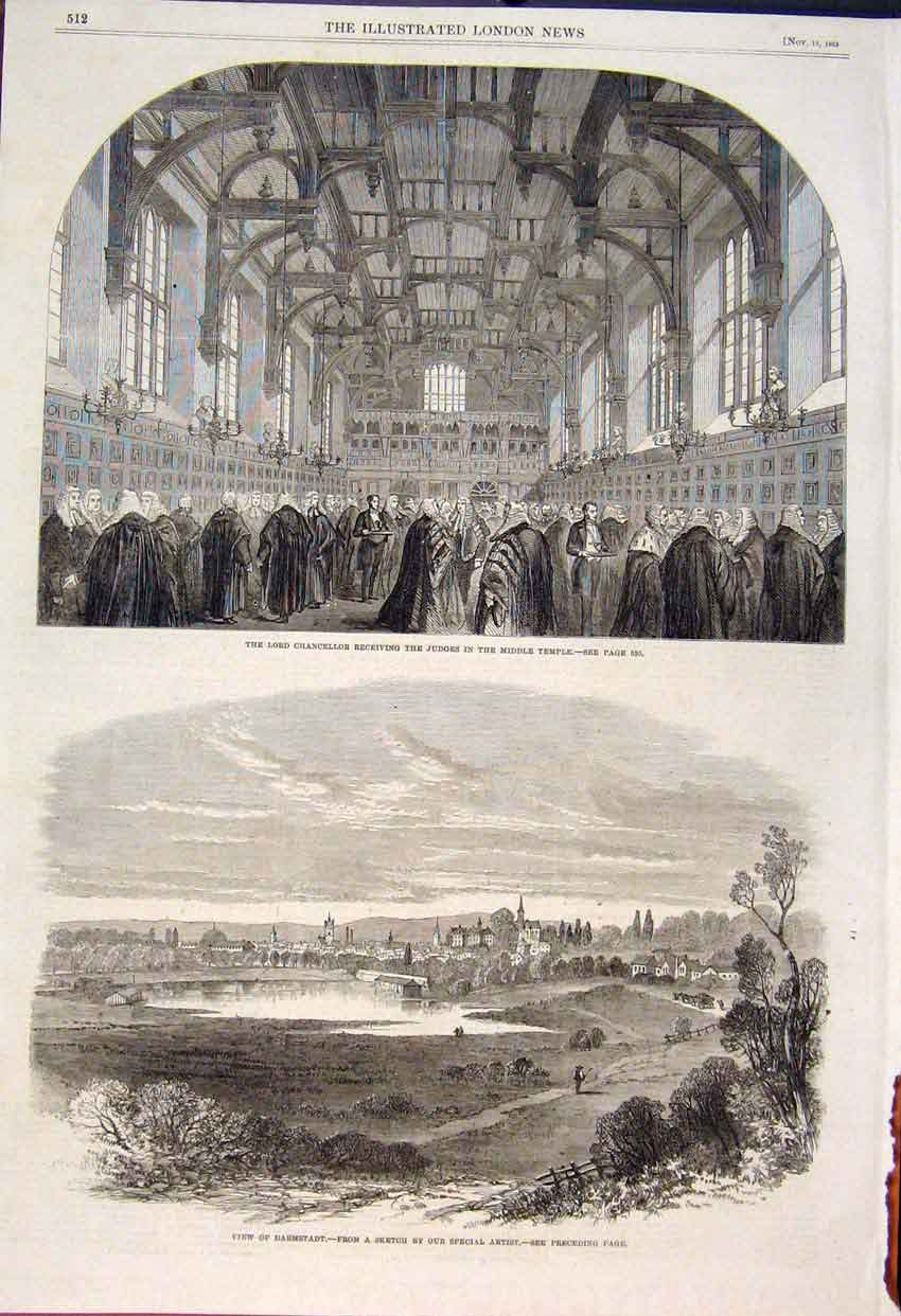 Print Lord Chancellor Judges Temple Darmstadt Sketch 1862 12Maa1 Old Original