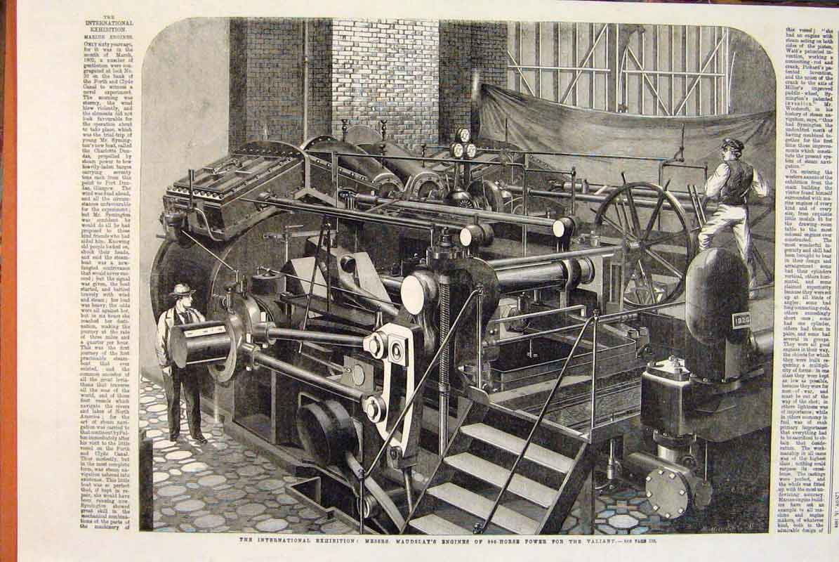 Print Maudslay Engine Valiant International Exhibition 1862 36Maa1 Old Original