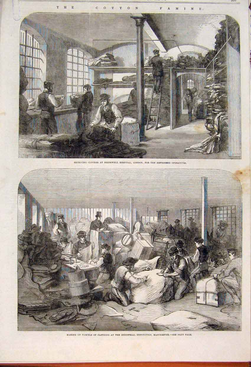 Print Cotton Famine Manchester Provident Society 1862 57Amaa1 Old Original