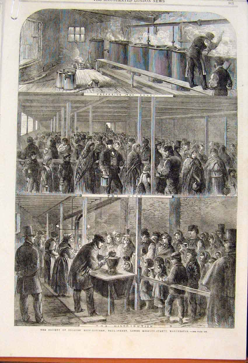 Print Society Friends Manchester Soup-Kitchen Mayor Relief 61Amaa1 Old Original