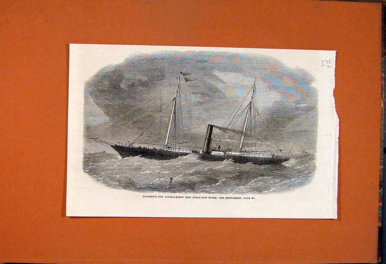Print Dudgeon Double-Screw Iron Steam Ship Flora 1862 76Lmaa1 Old Original