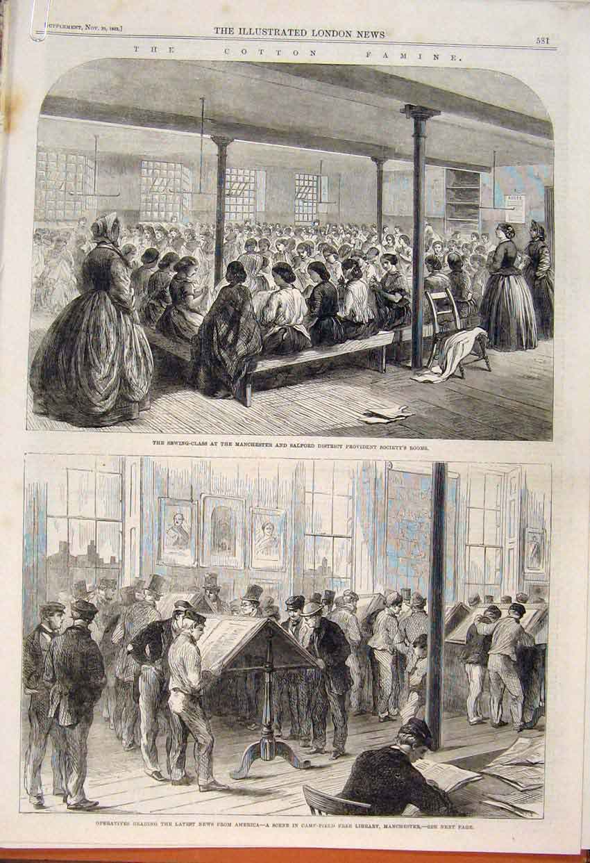 Print Cotton Famine Manchester Salford Mill School 1862 81Amaa1 Old Original