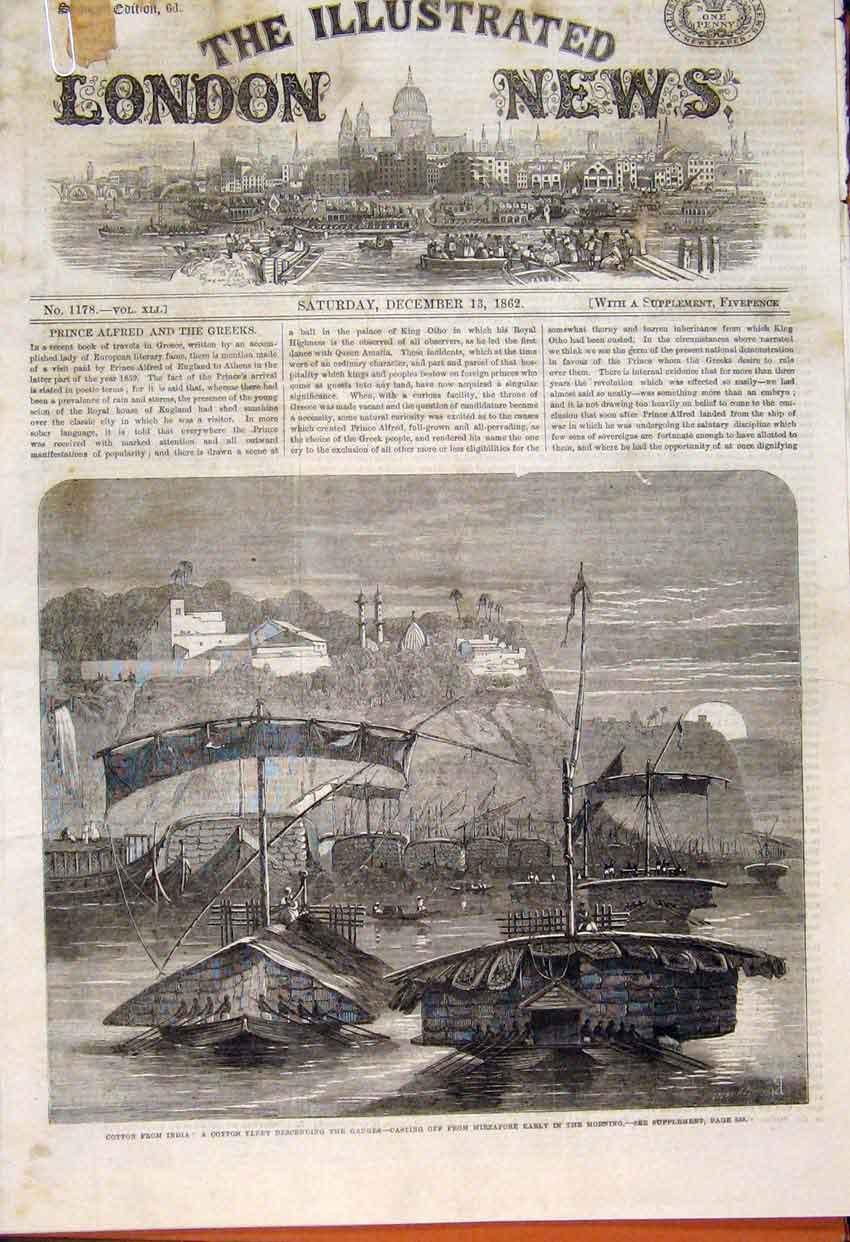 Print Cotton Famine India Fleet Manchester Mill Cabmen 1862 03Amaa1 Old Original