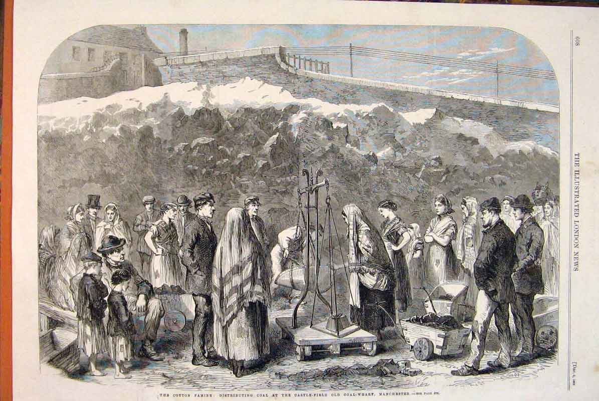 Print Cotton Famine Coal Castle-Field Manchester 1862 08Maa1 Old Original