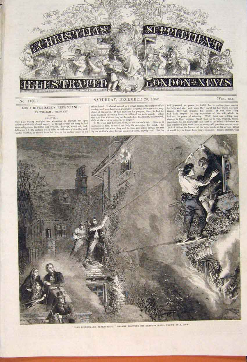 Print Riverdale Repentance George Rescue Hunt Fine Art 1862 62Maa1 Old Original