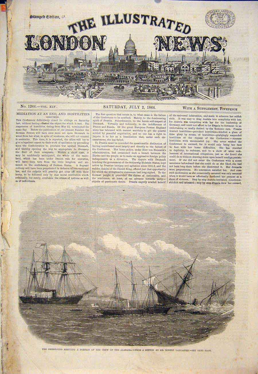 Print Deerhound Ship Albmama Lancaster Boat Fleet 1864 02Maa1 Old Original