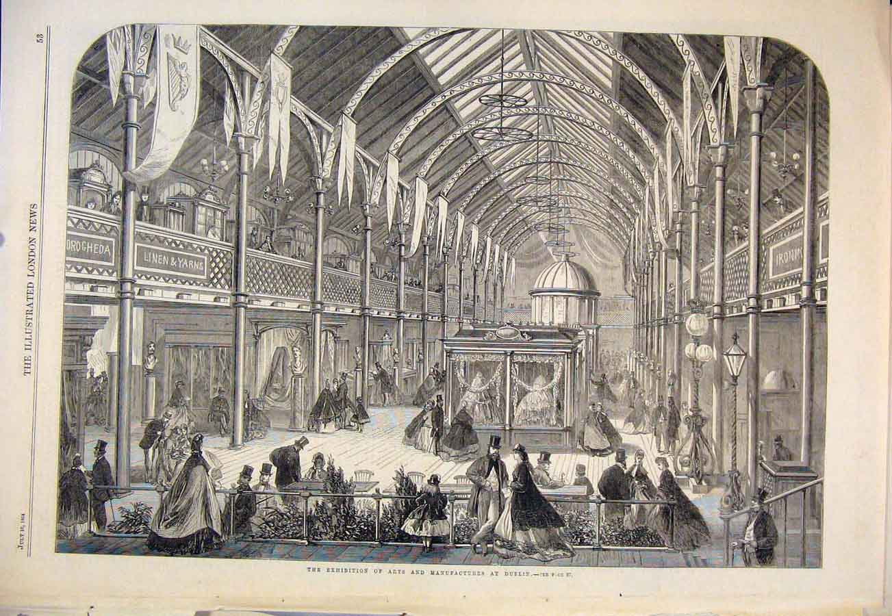 Print Exhibition Arts Manufacturers Dublin Ireland 1864 53Maa1 Old Original