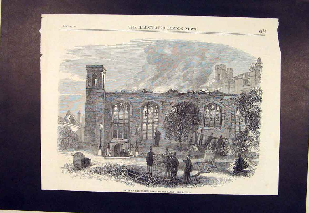 Print Ruins Chapel Royal Savoy Fire 1864 61Umaa1 Old Original
