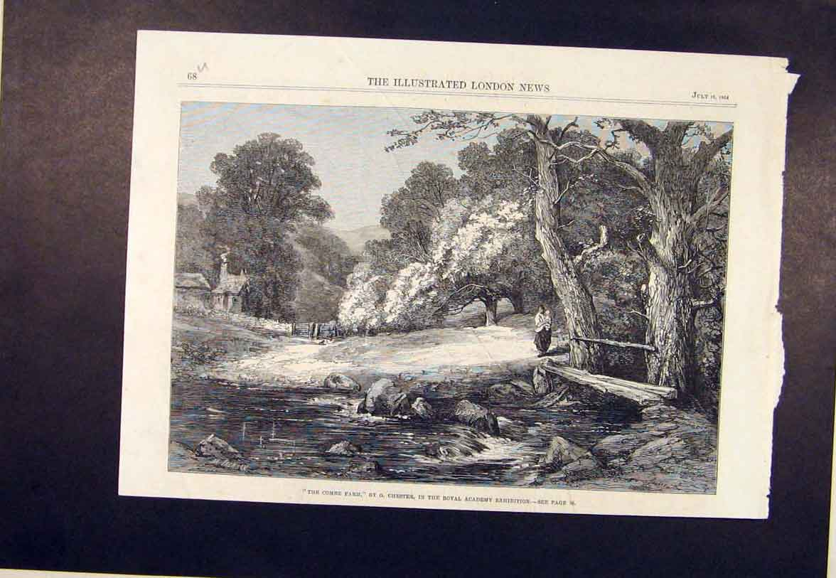 Print Combe Farm Chester Royal Academy Fine Art 1864 68Umaa1 Old Original
