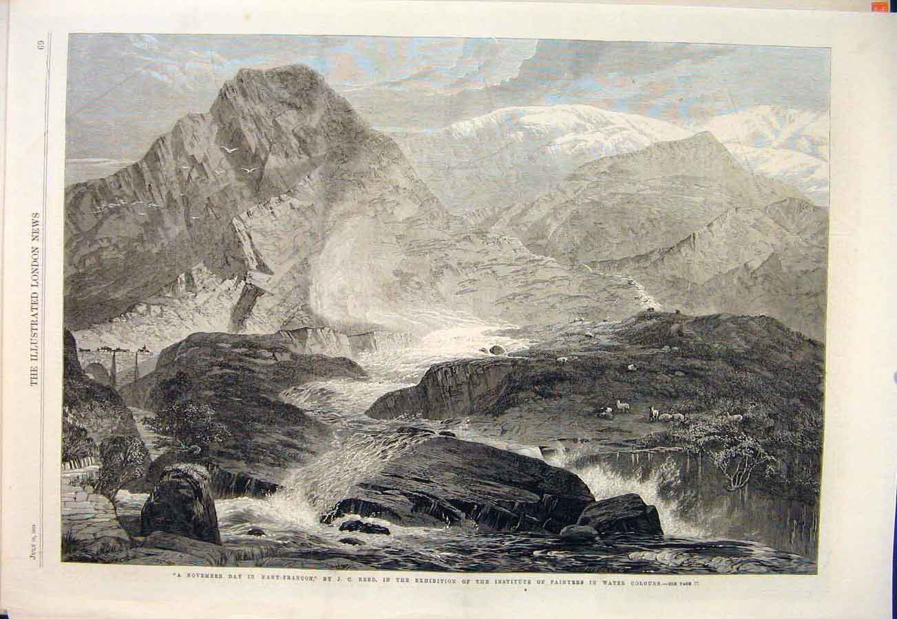 Print Nant-Francon Reed November River Mountain Sheep 1864 69Maa1 Old Original